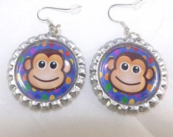 New Happy Monkey Blue Flat Chrome Bottlecap Earrings