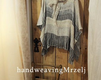 Linen Poncho - Women's clothing 0P1