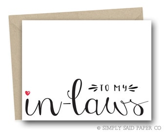 To my in-laws - wedding day card, wedding stationary, to my in-laws, wedding day notecard