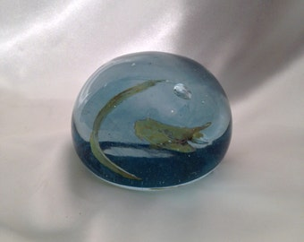 Vintage Blue Blown Glass Paperweight with Open Pontil Scar/Blue Glass Paperweight/Handblown Glass Paperweight Pontil Mark