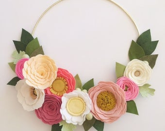 MODERN WREATH // Felt Flower Wreath // Gold Hoop Wreath // Wall Art // Nursery Decor // Pink Wreath // Pink + Coral + Linen + Yellow