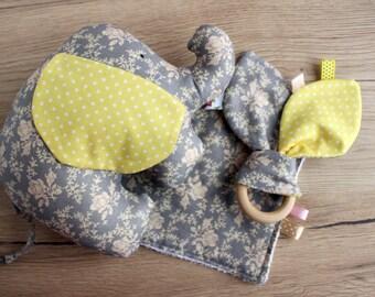 New baby girl gift, Elephant baby shower gift, Newborn gift set, First baby gift, Elephant baby room decor, Elephant toy, Stuffed elephant