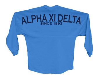 AXiD Alpha Xi Delta Since Jersey Choose Your Colors Sorority Oversized Jersey