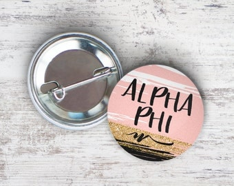 "Alpha Phi Rose Gold Black Single or Bulk 2.25"" Pinback Button"