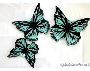 3x Glass Butterfly Nesting Plates Set of 3 Vintage Butterfly Stacking Dishes Butterfly Glass Plates Retro Butterfly Dishes Decal Finish