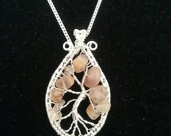 Tree of life topaz pendant
