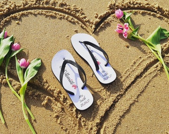 Personalised Wedding Flip Flops - wedding gift - bride to be - honeymoon gift - made to order - Bridal Flipflop - location wedding -