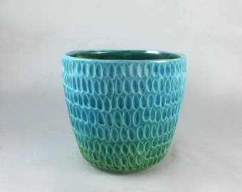 Carved  Ombre Ceramic Pot