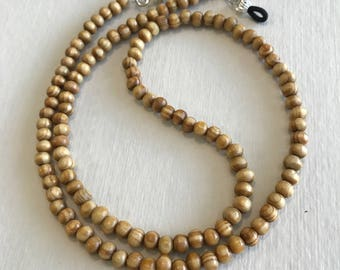 Natural Hand Carved Wood Beaded Eyeglass Chain-Sunglass Chain-Eyeglass Holder-Chain for Glasses- Necklace