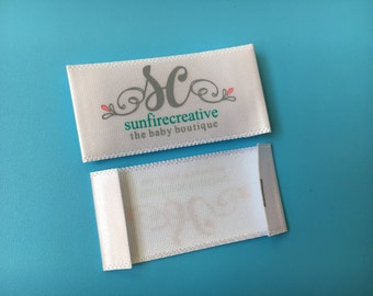 200 Custom Satin Printed Label, Woven edge satin printed tags, Printed labels satin, Screen printed labels, Garment tags asatin
