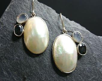 Silver earrings with mother of Pearl and Sapphire, chalcedony