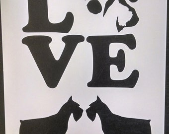 Love Miniature Schnauzer Dog Paw Print Custom Stencil FAST FREE SHIPPING