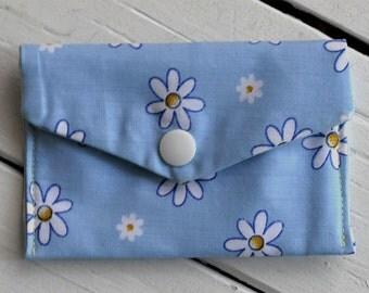 Blue Floral Headphones Case - Music, Mini Wallet, Business Card Holder, Credit Card Holder, Snap Pouch