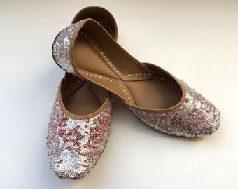 Two Side Silver and Red Sequins Shoes from Enhara/Women Shoes/Bridal Ballet Flats/Sequins Glitter Flats/Wedding Shoes