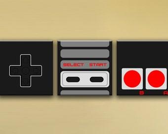 "NES Controller, 3-Piece Mural (60"" x 20"") - Canvas Wrap Print"