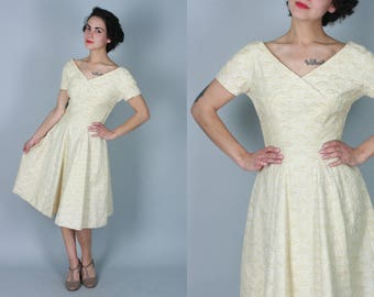 Vintage 1950s Dress | Cream Cotton Fit & Flare Dress with All Over Embroidery | Small
