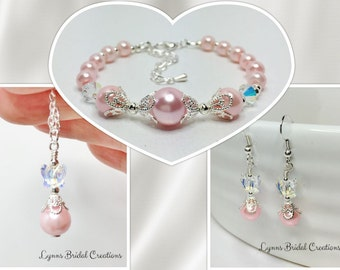 Pink and Silver Wedding Jewelry Set Pink Bridesmaid Gift Swarovski Crystal Pearl and Crystal Wedding Party Gift Mother of the Bride Gift