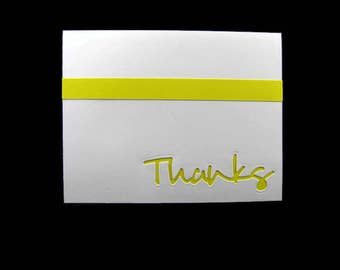 Thanks Blank Greeting Card set of 5 Made to Order