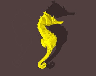 DIY 3D Papercraft Seahorse - PDF, Printable Model, Template