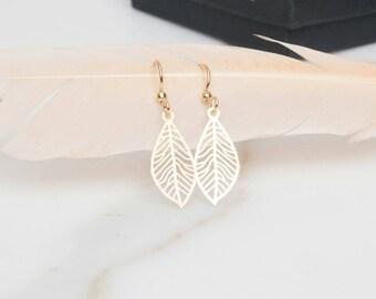 SALE Gold Leaf Earrings, Leaves, Leaf Jewelry, Gift Idea, Dangle Earrings,