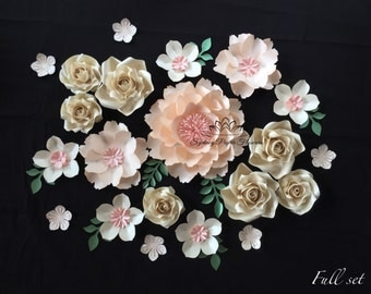 Paper flower backdrop PEONY+ROSE/Paper flower wall/Wedding Backdrop/Backdrop /Baby shower/Baby shower/Sweet table/Christening /Dessert table