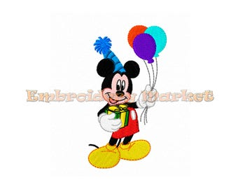 mister mouse happy birthday embroidery design. 4 sizes. Instant Download