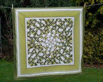 Vintage Green Tablecloth - Square Floral Design