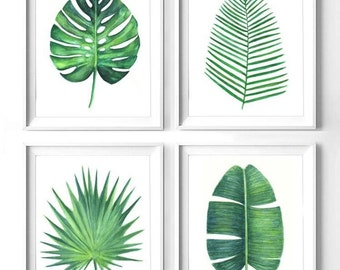 Set Of 4 Green Leaves Botanical Print Printable Monstera Leaf Banana