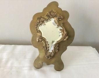 Antique Bronze Brass French Vanity Mirror Beveled Cut Glass Mirror