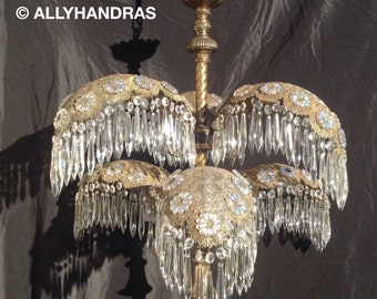 Vintage Palm Frond Crystal Filigree Chandelier 6 Light Grand Waterfall Swag Lamp