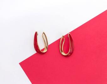 TRIFARI Modernist Hoop Earrings (1980s)
