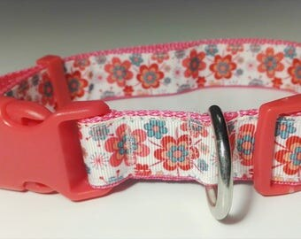Adjustable Flor Dog Collar - Pink