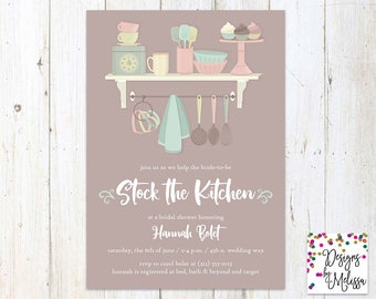 Stock the Kitchen Bridal Shower Invitation - Kitchen Bridal Shower - Mint Bridal Shower - Wedding Shower - Stock the Kitchen - DIGITAL FILE