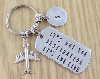 Pilot Gift || Pilot Keychain Airplane Keychain || It's Not The Destination It's The Ride || Gifts For Travelers || 5 Star Esy Seller Shop