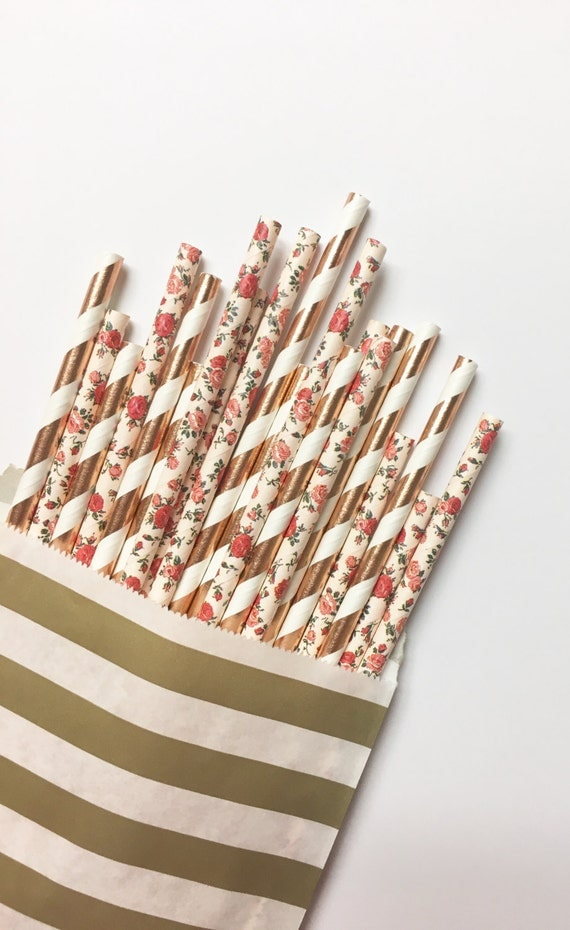 Rose Gold Rose straw mix//paper straws, straws, party decorations, party supplies, birthday party, wedding, bachelorette, bridesmaid, decor