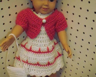 American Girl Doll Crochet Dress with Jacket/purse and shoes