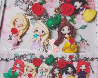 Bracelet or necklace Disney Princess Cute Chibi Bijoux Fimo Polymer Clay Kawaii Tiny Aurora Ariel Rebel snow white beautiful Rapunzel Merida