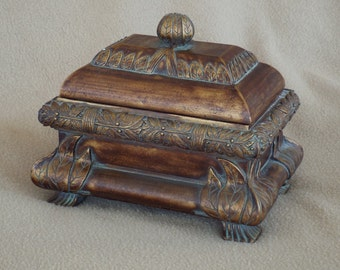 Vintage Jewelry Box; Footed Casket Box; Trinket Box