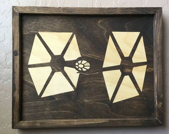 Tie Fighter Wooden Inlay Wall Art