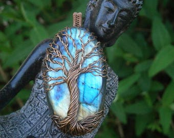 labradorite jewelry wrapped crystal necklace tree of life labradorite pendant copper tree of life