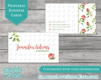 Printable, Personalized Double Sided Watercolor Roses Business Cards | JPG, PNG and PDF Files