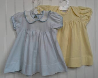 Vintage Baby Dress, Yellow Baby Dress, Blue Baby Dress, Soft Baby Dress, Cotton Knit Baby Dress, Carters Baby Dress, 1950s Baby Dress