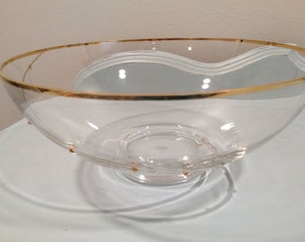 Vintage Crystal Bowl With Gold Trim