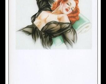 "Alberto Vargas Vintage Pinup Illustration Sexy Nude Pinup Mature Wall Art Deco Book Print 9"" x 12.75"" AV01"