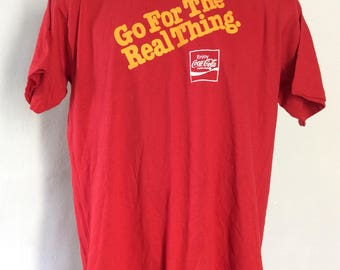 Vtg 70s Coca Cola Go For The Real Thing T-Shirt Red L/XL Coke Soft Drink Advertising 50/50