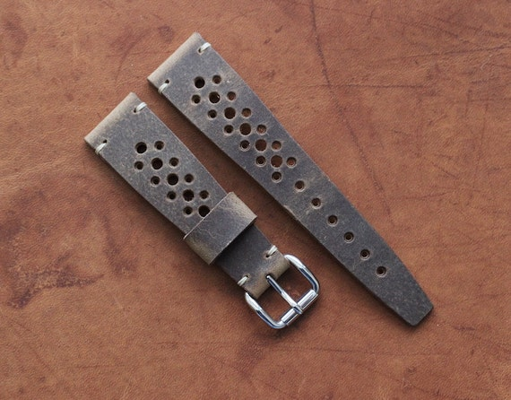 22/16mm Horween Spinnaker Rally watch band with simple stitching