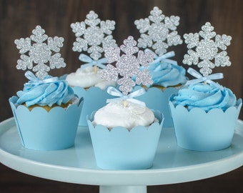 Silver Glitter Snowflakes, Winter Onederland cupcake toppers, snowflakes