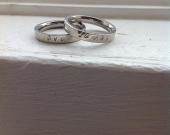 Name add on for stacking rings
