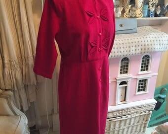 1950s red wool dress