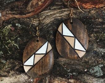 Aztec Oval Earrings